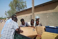 School supplies being unloaded from truck